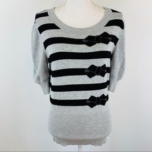 Ted Baker Black Gray Bow Striped Sweatshirt 4